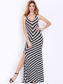 White Black Spaghetti Strap Backless Split Maxi Dress