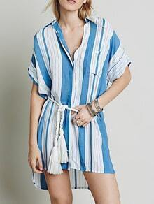 White Blue Batwing Sleeve Striped High Low Dress