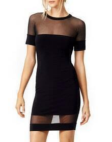 Black Short Sleeve Contrast Mesh Yoke Dress
