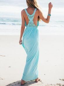 Blue Sleeveless Deep V Neck Maxi Dress