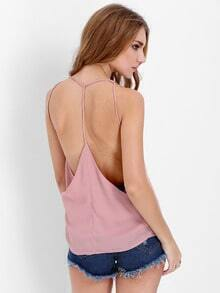 Purple Spaghetti Strap Backless Cami Top