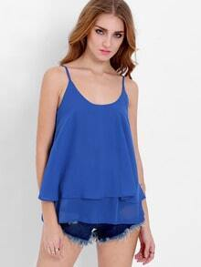 Blue Spaghetti Strap Backless Ruffle Cami Top