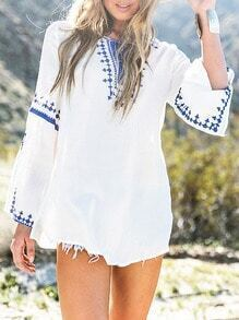 White Long Sleeve Tribal Embroidered Blouse