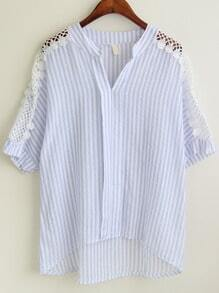 Blue V Neck Contrast Lace Dip Hem Vertical Striped Blouse