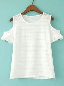 White Open Shoulder Ruffle Sleeve T-shirt