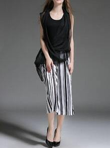 Black Chiffon Asymmetrical Top With Vertical Striped Pant
