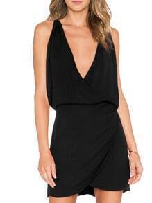 Black Deep V Neck Slim Bodycon Dress