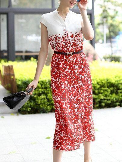 Red White V Neck Cap Sleeve Drawstring Print Dress