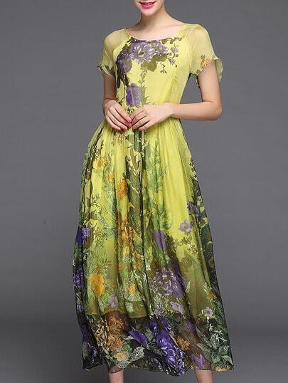 Yellow Round Neck Short Sleeve Print Dress