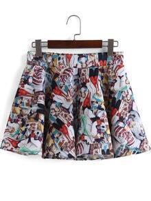 Multicolor Figure Print Mini Skirt