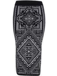 Black Slim Geometric Print Knit Skirt