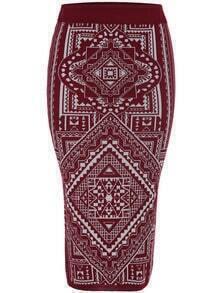 Red Slim Geometric Print Knit Skirt