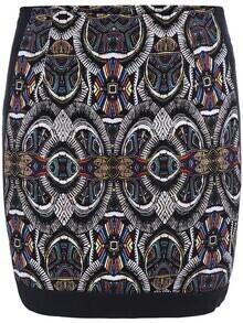 Multicolor Tribal Print Bodycon Skirt