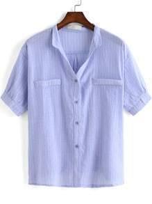 Blue Short Sleeve Vertical Stripe Blouse