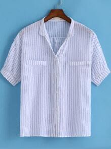 White Short Sleeve Vertical Stripe Blouse
