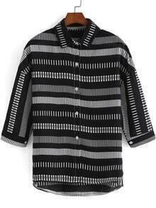 Black Half Sleeve Striped Chiffon Blouse