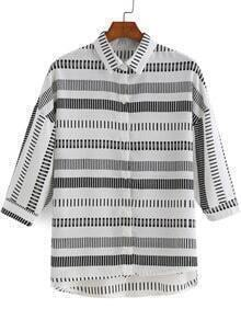 Grey White Half Sleeve Striped Chiffon Blouse