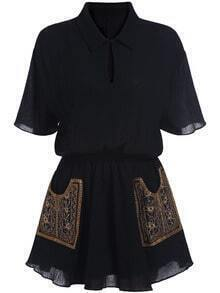 Black Lapel Short Sleeve Pockets Embroidered Dress