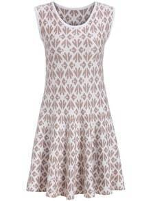 Apricot Sleeveless Geometric Print Pleated Dress