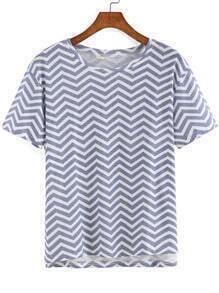 Blue White Short Sleeve Zigzag Print T-Shirt