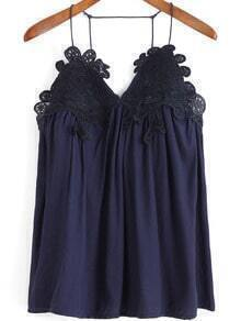Blue Spaghetti Strap Floral Crochet Cami Top