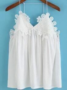 White Spaghetti Strap Floral Crochet Cami Top