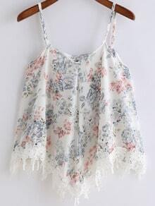 Pink Spaghetti Strap Floral Lace Cami Top