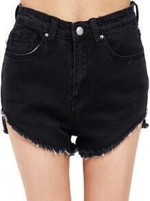 Black High Waist Fringe Denim Shorts