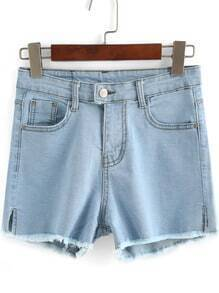 Blue High Waist Split Denim Shorts