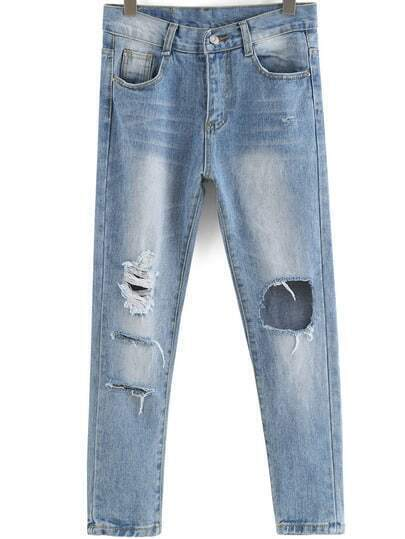 Blue Pockets Ripped Bleached Denim Pant