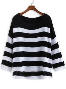 Black White Long Sleeve Striped Knit Sweater