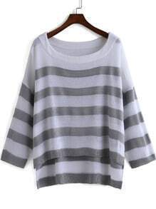 Grey White Long Sleeve Striped Knit Sweater
