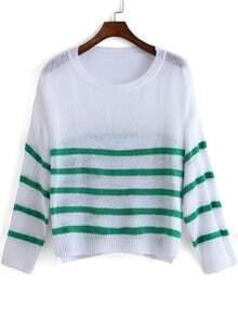 Green White Round Neck Striped Knit Sweater