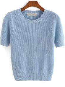 Blue Round Neck Short Sleeve Knit Sweater