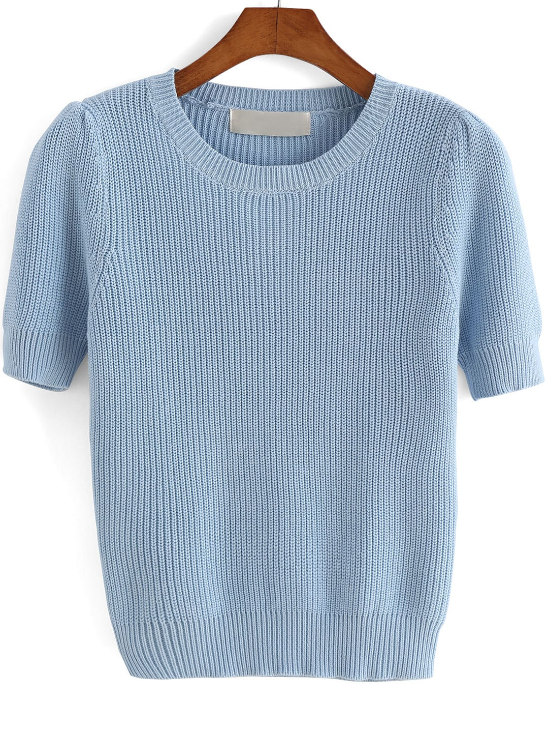 Blue Round Neck Short Sleeve Knit Sweater -SheIn(Sheinside)