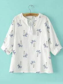 White Tie-neck Coconut Tree Print Blouse