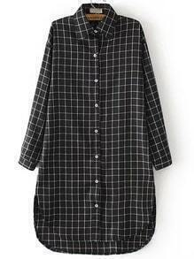 Black White Lapel Plaid Dip Hem Blouse