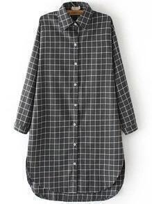 Grey White Lapel Plaid Dip Hem Blouse