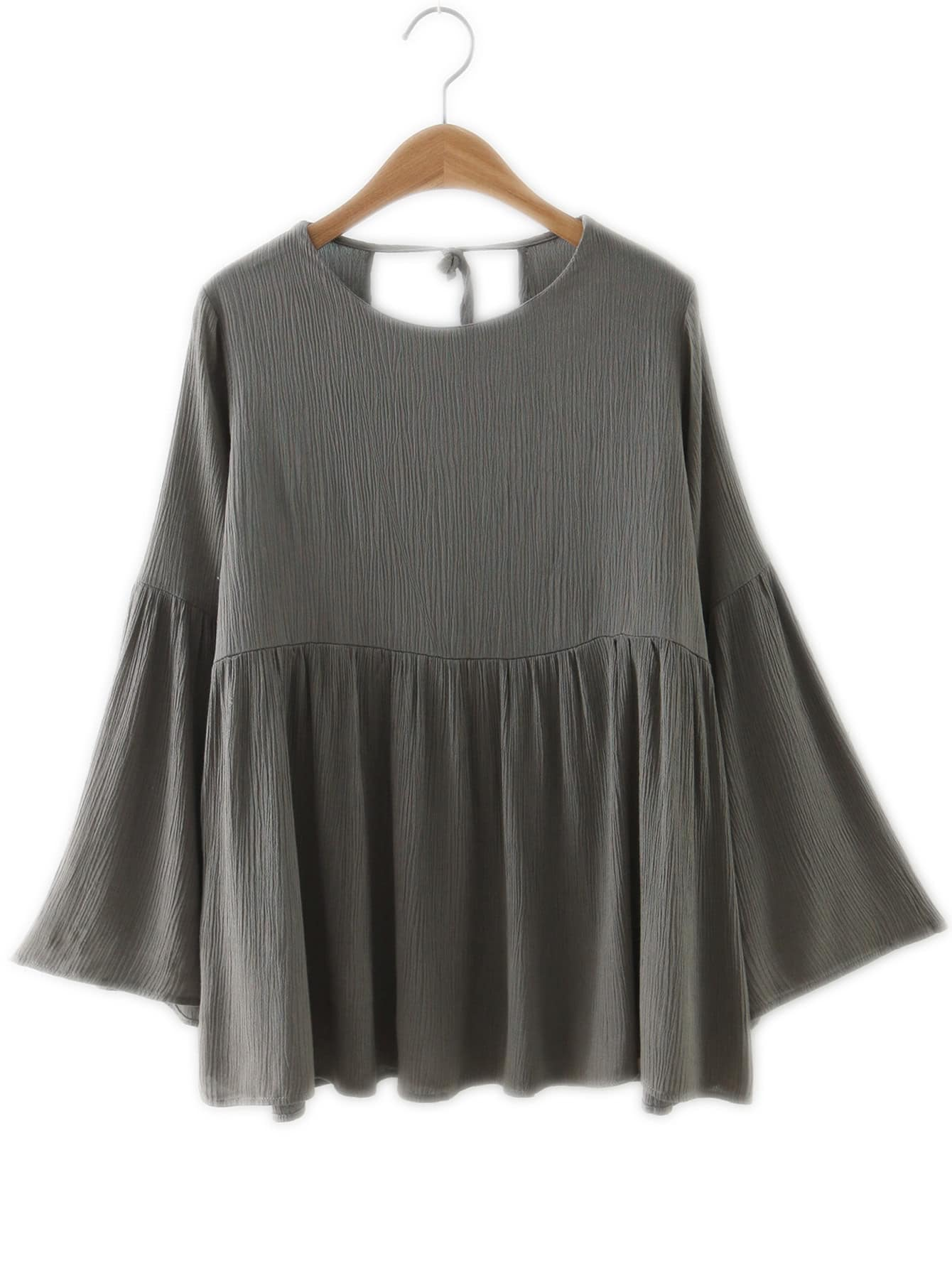 Khaki Bell Sleeve Knotted Loose Blouse