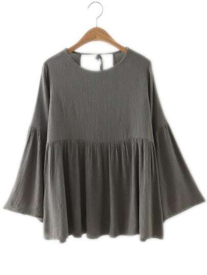 V Cut Back Fluted Sleeve Babydoll Blouse