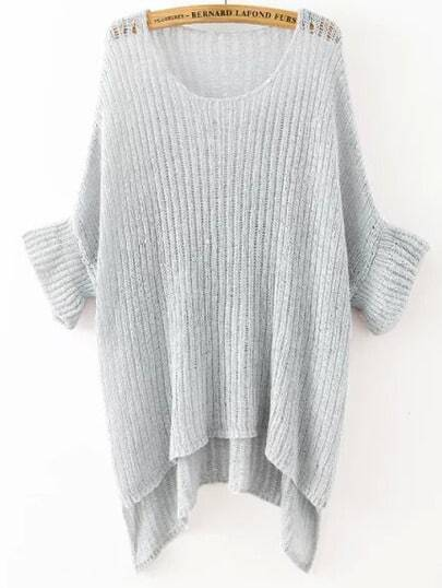 Grey Round Neck Split Loose Knit Sweater