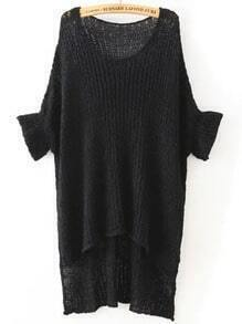 Black Round Neck Split Loose Knit Sweater