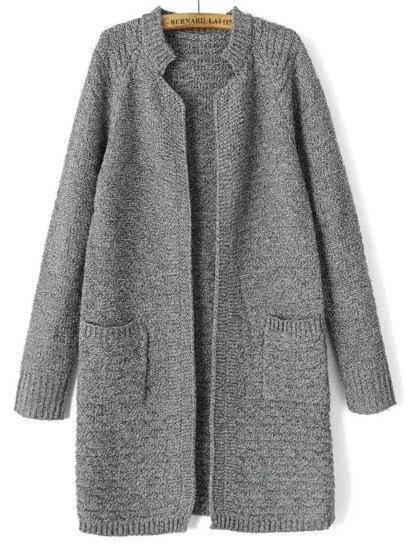Купить Grey Stand Collar Long Sleeve Knit Cardigan