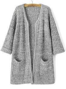 Light Grey Long Sleeve Pockets Knit Cardigan
