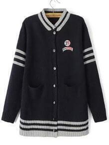 Navy Long Sleeve Striped Pockets Cardigan
