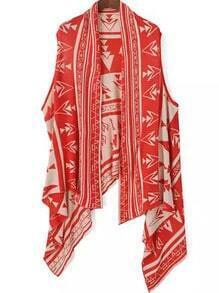 Red Tribal Print Knit Vest