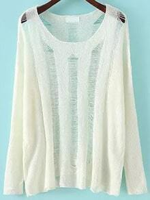 White Long Sleeve Ripped Knit Sweater
