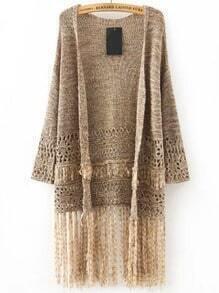 Khaki Long Sleeve Tassel Knit Cardigan