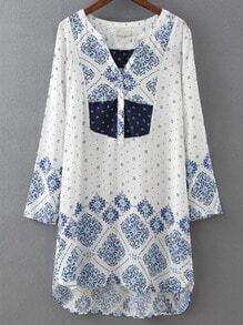 Blue V Neck Floral Straight Dress