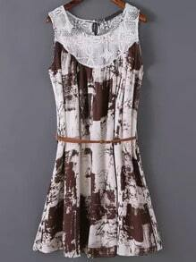 Brown Sleeveless Lace Floral Loose Dress